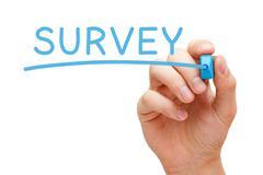 Survey Blue Marker Stock Photos