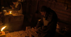 Carpenters in an old workshop - stock footage