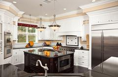Beautiful Custom Kitchen Interior in a New House Stock Photos