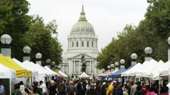 Open market by the Pioneer Monument in Sanfrancisco Stock Footage