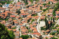Kalambaka town view from Meteora rocks, Greece Stock Photos