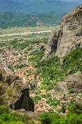 Kalambaka small town view from Meteora rocks, Greece Stock Photos