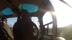 POV from veterinarian in back seat of helicopter preparing flying over a Stock Footage