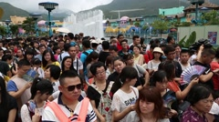 People are waiting for the opening of an Ocean Park,  Hong Kong - stock footage