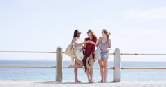 Teenage girls taking selfie at beach on summer vacation centre frame composition Stock Footage