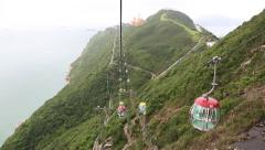 Stock Video Footage of Visitors to the Ocean Park moved to the cable car cabins, Hong Kong