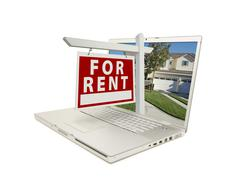 For Rent Sign on Laptop Stock Photos