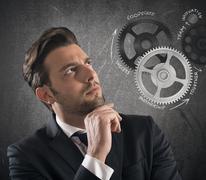 Business brain mechanisms - stock photo