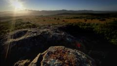 Early Morning Sun Rise over Valley of Wild Flowers Stock Footage