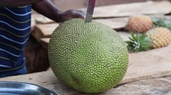 Jack fruit cutting Stock Footage