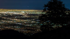 Los Angeles Night Lights City Wide with Tree Stock Footage