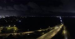 Miami Florida Biscayne Bay Night Timelapse Stock Footage