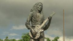 Bob Marley statue, Celebrity Park, Kingston - stock footage