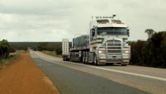 Semi Trailer Travelling Down An Australian Highway - stock footage