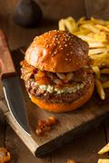 Juicy Blue Cheese Hamburger - stock photo