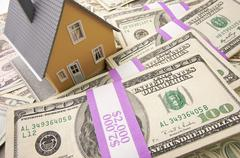 Home with Stacks of Money as Background. Stock Photos