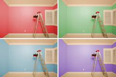 Set of Empty Rooms Painted in Variety of Colors with Ladder, Rollers and Tray - stock photo