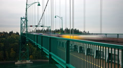 High speed shot of traffic on the Lions Gate Bridge in Vancouver, Canada. Stock Footage