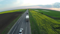Countryside road next to Brassica rapa field at sunset - aerial view - stock footage