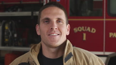 Close-up shot of a fireman at the fire station - stock footage