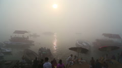 Aerial view on foggy bay of Ganges river, with boats passing. - stock footage