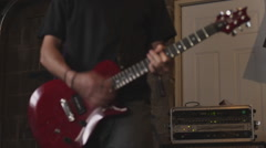 Handheld A bassist and guitar player practice. Stock Footage