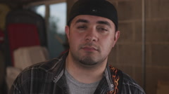 Closeup shot of a serious man. Stock Footage