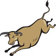 Texas Longhorn Bull Jumping Cartoon - stock illustration