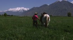 Slow tilting shot of a cowboy guiding his horse towards the meadow Stock Footage