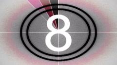 Retro film leader countdown - Flicker 032 HD, 4K Stock Footage