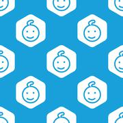 Smiling kid hexagon pattern Stock Illustration