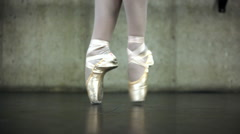 Close up of a ballerina's feet dancing in point shoes. Stock Footage