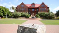 ASU Pan Shot Normal College Building and Sundial Stock Footage
