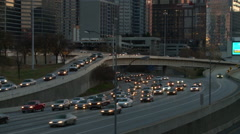 Panning shot from left to right of the Atlanta Skyline and the traffic below Stock Footage