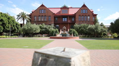 ASU Old Main Building Sundial Fountain - racked focus Stock Footage