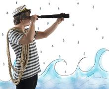 Sailor with the telescope Stock Photos