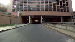 A handheld shot of merging onto a motorway in Washington DC. - stock footage