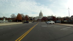 A handheld shot of driving through the backstreets of Washington DC. Stock Footage