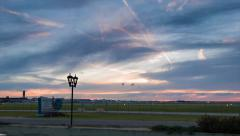 Vibrant Sunset Sky at New Orleans Airport Stock Footage