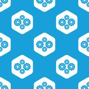 Cogs hexagon pattern Stock Illustration
