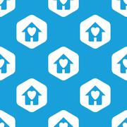 Beloved house hexagon pattern - stock illustration