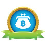 Bitcoin purse round icon Stock Illustration