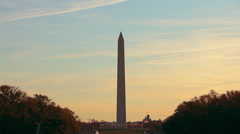 A static shot of the Washington Monument at sunset in Washington DC. Stock Footage