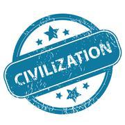 CIVILIZATION round stamp - stock illustration