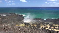 Spouting Horn, Poipu Beach on the island of Kauai Hawaii Stock Footage