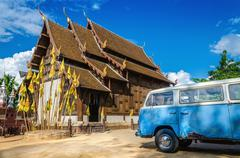 Temple in Chiang Mai with blue van, Thailand Stock Photos