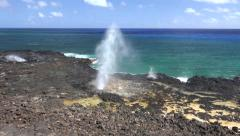 Spouting Horn, Poipu Beach on the island of Kauai Hawaii Stock Footage