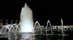 A static shot of an amazing water fountain at night. Stock Footage