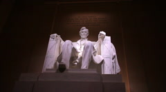 Static shot of Abraham Lincoln statue at the Lincoln Memorial in Washington DC Stock Footage
