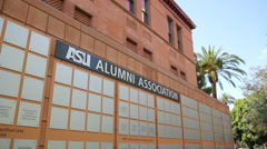 Stock Video Footage of ASU Old Main Alumni Association Signs - Background